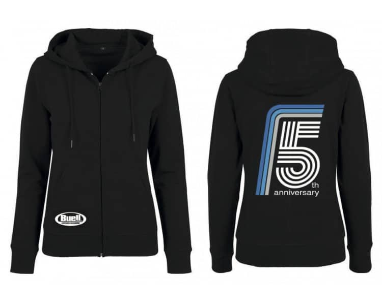 Hoodie with zipper Woman's Black - 5 years Anniversary of Buell Friends Czech(o)Slovakia